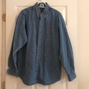 Denim button down shirt with Mickey Mouse